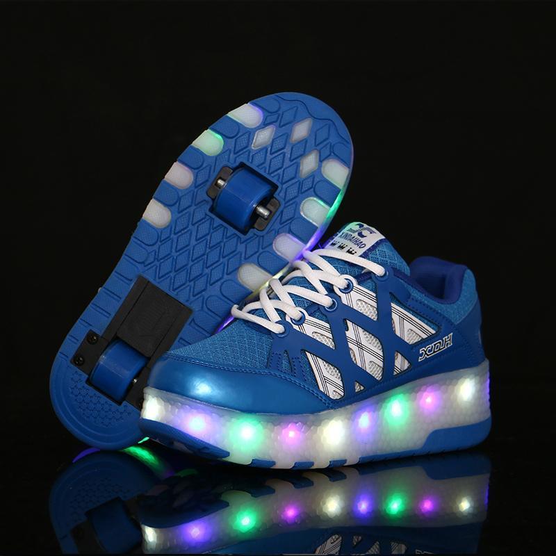 Atletik Açık İki Tekerlekler Aydınlık Sneakers LED Işık Rulo Paten Ayakkabı Çocuklar Çocuk Erkek Kız Up Unisex