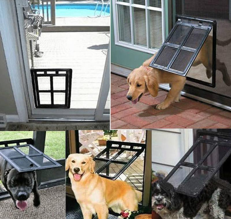 Lockable Plastic Pet Dog Cat Kitty Door For Screen Window Security Flap Gates Pet Tunnel Dog Fence Free Access Door For Home jllKwYu
