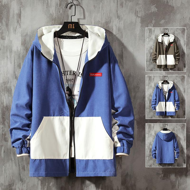 2020 Hombre chaqueta del resorte remiendo hombres rompevientos Protección solar Ropa Abrigos Chaquetas Hombres chaqueta con capucha Outwear