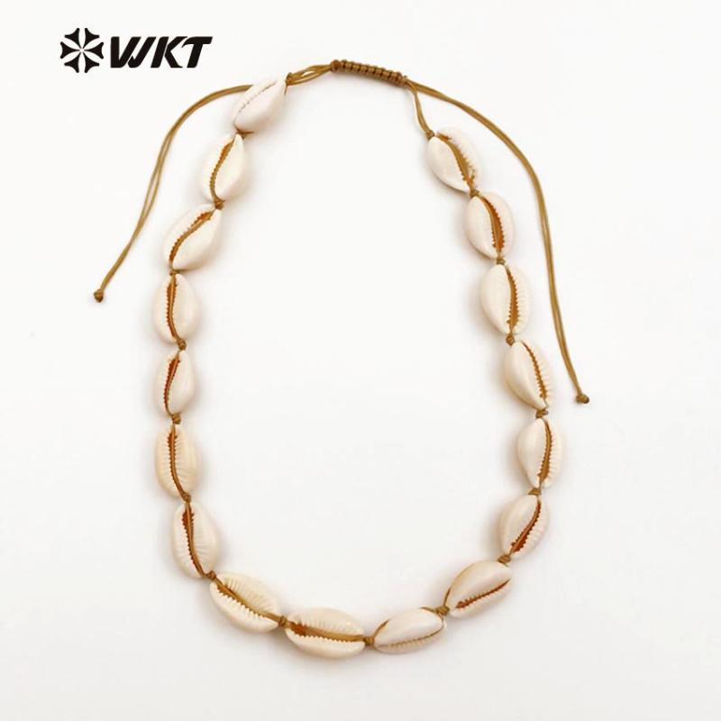 WT-JN024 WKT Großhandel Neuer kommende Diy Schmuck elegante natürliche Kette aus Kaurischnecken mit Weiß für Frauen Fashion Jewelry