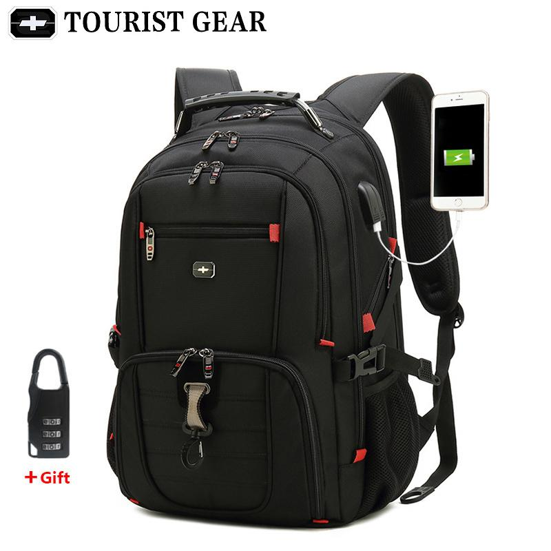 Moquila masculina 15.6 Viagens Anti Business Bag 17 homens Carregando USB Swiss Mochilas Theft Polegada Mochila Laptop Waterproof OEGIO