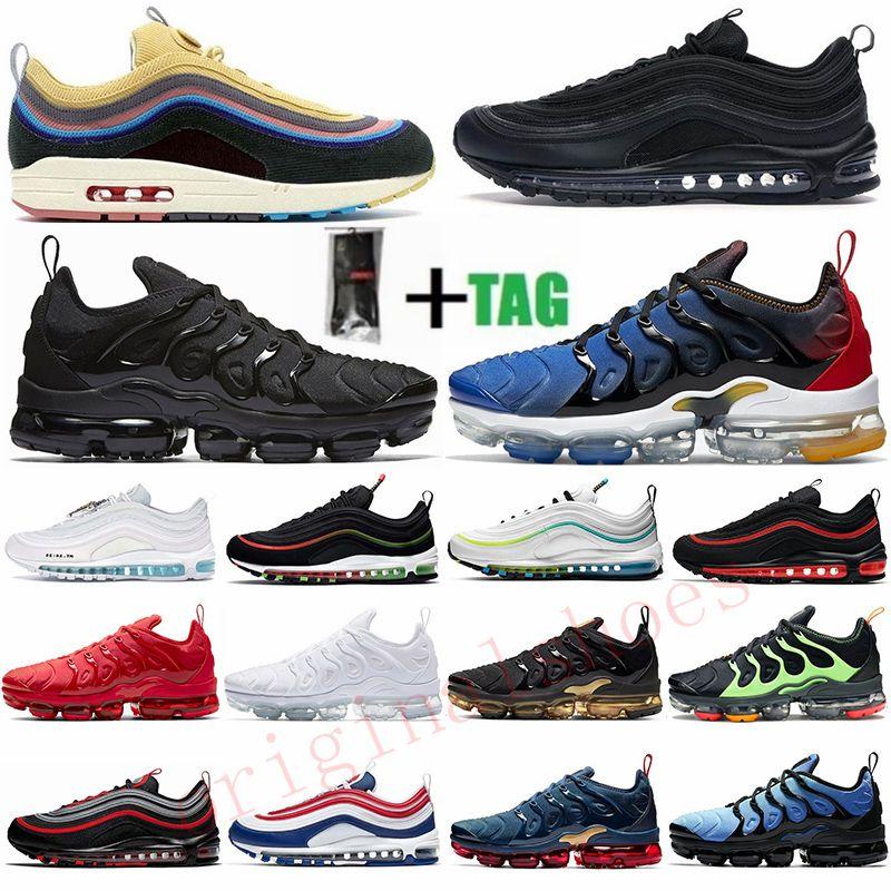 Boyutu 13 TN Artı Üçlü Kırmızı Beyaz Altın Yeşil Erkek Koşu Ayakkabıları 97 Sean Wotherspoon Siyah Bullet Kravat Boya Bayan Sneakers Eğitmenler 36-47