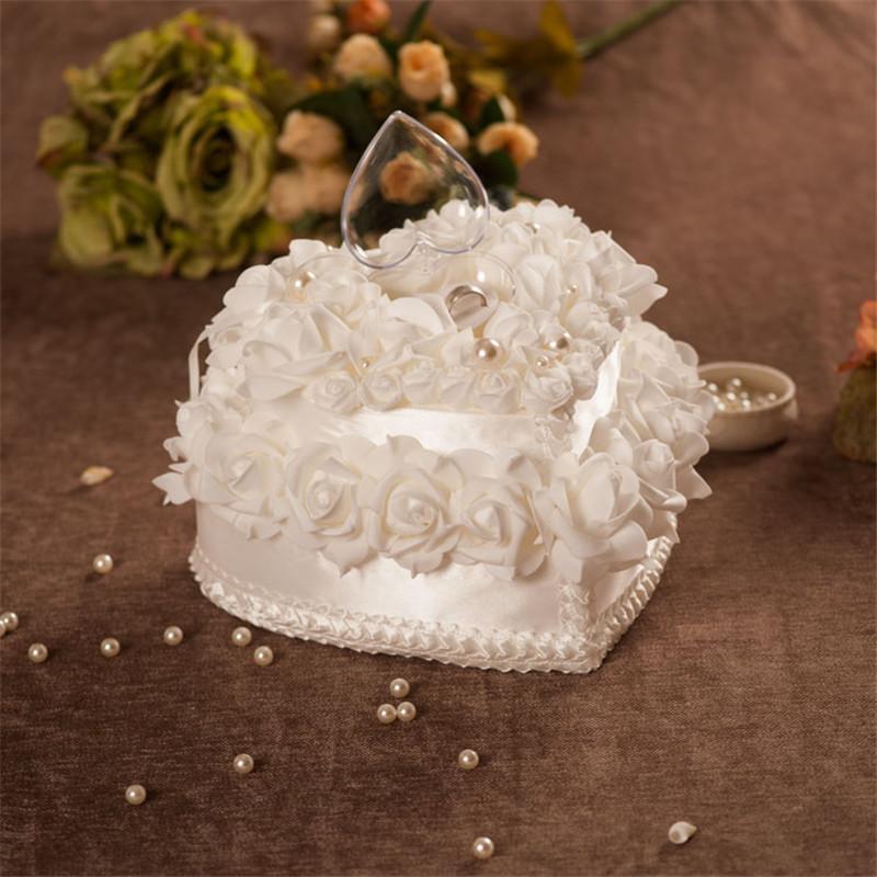 Ehering Ring Kissen Kissen Sets Luxus und Elegante Doppelschicht Ring Kissenbox Rose Heart Design Weiße Dekoration