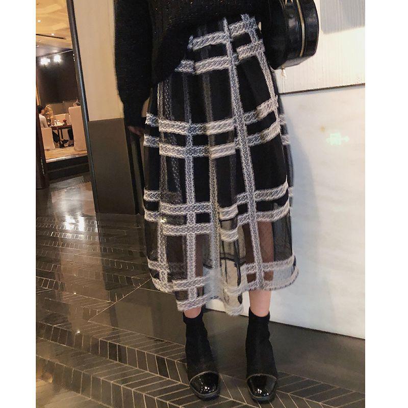 Mishow 2019 Осенняя клетчатка плиссированная юбка женская причинная эластичная талия сетка средняя длина черная юбка MX18D1879 J0118