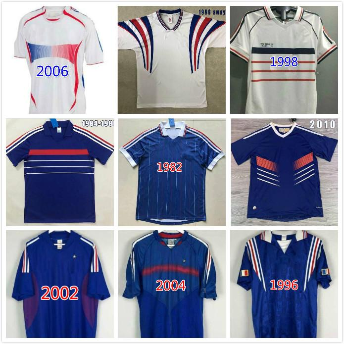 1982 1996 1998 2000 2002 2004 2010 Francescoli Zidane Retro Fútbol Jersey Zidane Henry Uniformes Maillot de Foot Maillots De Camisa De Fútbol