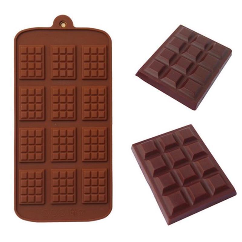 Silikon Kalıp 12 Düz Çikolata Kalıp Fondan Kalıpları DIY Şeker Bar Kalıp Kek Dekorasyon Araçları Mutfak Pişirme Aksesuarları 414 N2