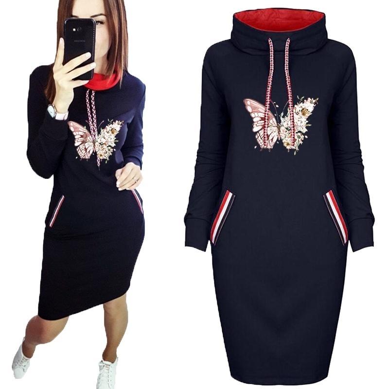 Vestido de inverno mulheres borboleta dos desenhos animados mais tamanho bolso bodycon vestidos vintage roupas festa casual mulheres mini vestido preto 20127