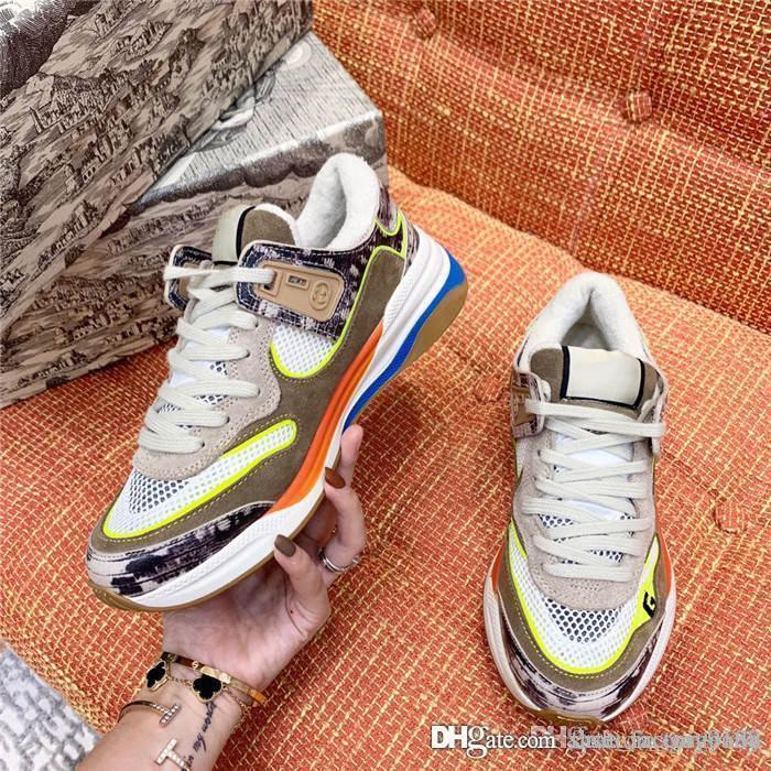 Gucci O mais jovem tendência desportivos sapatos casuais série essenciais cor parte de harmonização rendas até esportes tênis Pacote completo
