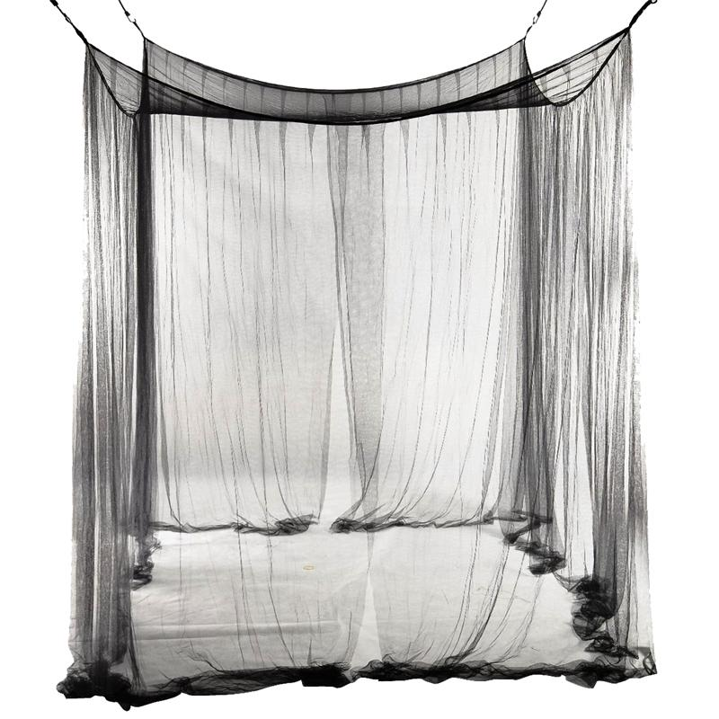 4-Corner Netting Canopy Mosquito Net for Queen/King Sized 190*210*240cm (Black) Bed Curtain Room Decoration