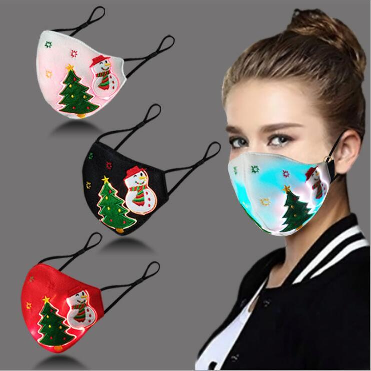 Christmas Glowing Mask With PM2.5 Filter 3 Colors LED Luminous Masks For Festival Party Masquerade Rave Mask Halloween Designer Face Mask