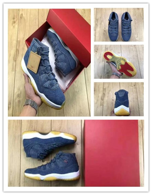 11 Zapatos tejanos Travis baloncesto de los hombres 11s xi Denim LS tejanos XI Prom noche Gimnasio espacio de atasco rojo de fibra de carbono real Calzado deportivo