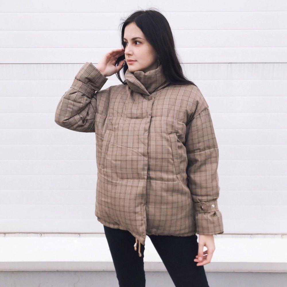 Baumwoll-Kleidung weibliche kurzer Absatz neue koreanische Version von losen ins Kleidung Brot dicken Wintermantel Gitter Gezeiten 201014