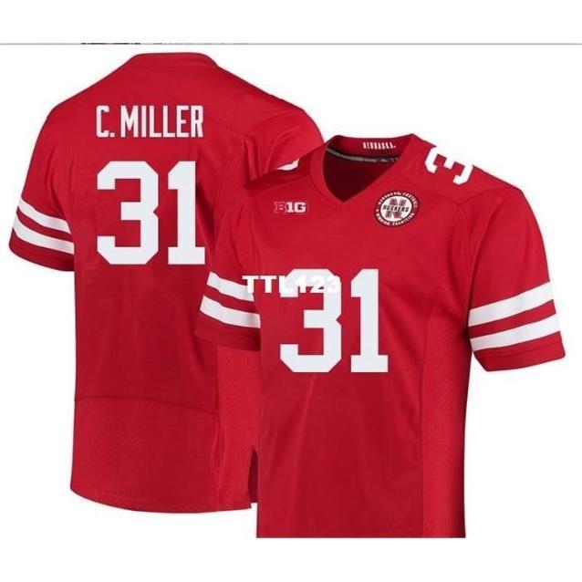 Cusom männer nebraska cornhuskers collin miller # 31 echte full stickerei college jersey größe s-4xl oder benutzerdefinierte ja name oder nummer jersey