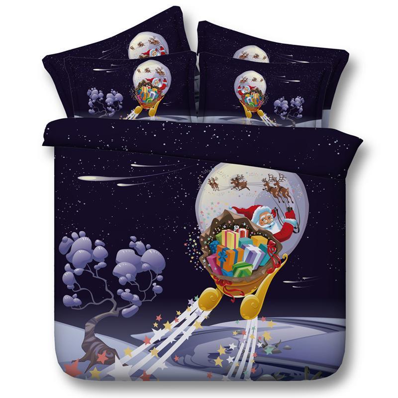 Livraison gratuite via UPS Twin / Full / Queen / King / Super King Taille Jour de Noël Textile 3D Joyeux Noël Joyeux Noël 5pcs Literie Set avec couette