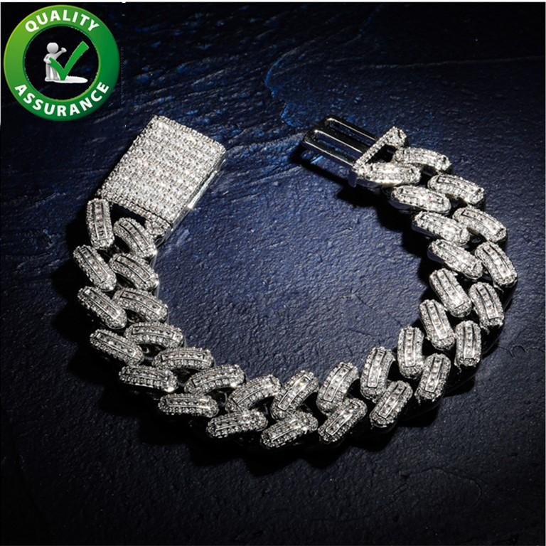 Luxe Designer Bijoux Bracelets Hommes Crude Charms Hip Hop Glacé chaîne Fashion Bracelet diamant Bangles Or Argent Accessoires Rose