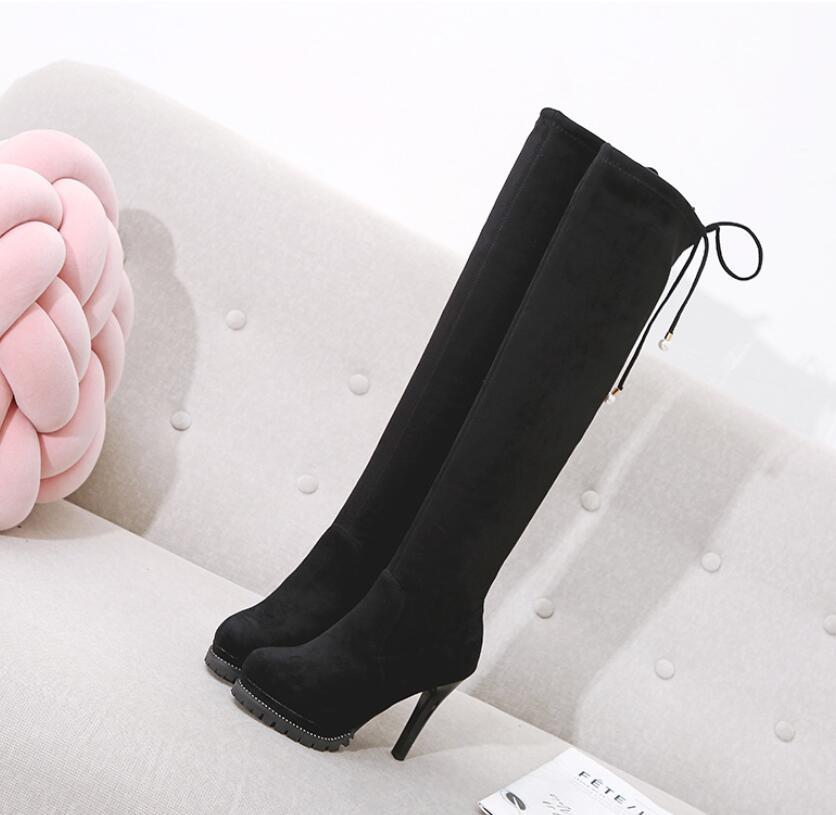 High heel waterproof platform lace-up pearl sexy skinny leg boots over the knee plus velvet joker Korean female