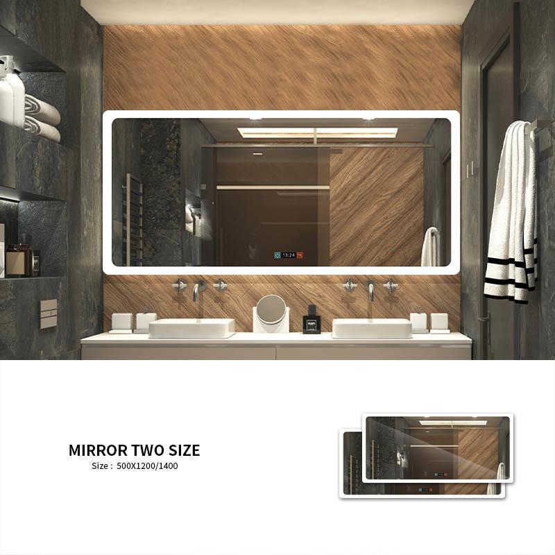 2019 Modern Stil Dikdörtgen Zaman Ekran Aynası Banyo Özelleştirilmiş LED Aydınlatmalı Dokuman Akıllı Ayna