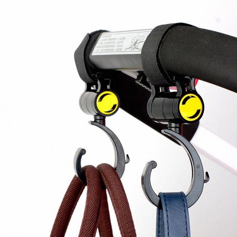 2pcs / set Pram Stroller Hanging Hooks giratória Hanger Ganchos Trolley mosquetão gancho giratório Pushchair de suspensão portador Titular RP88 #