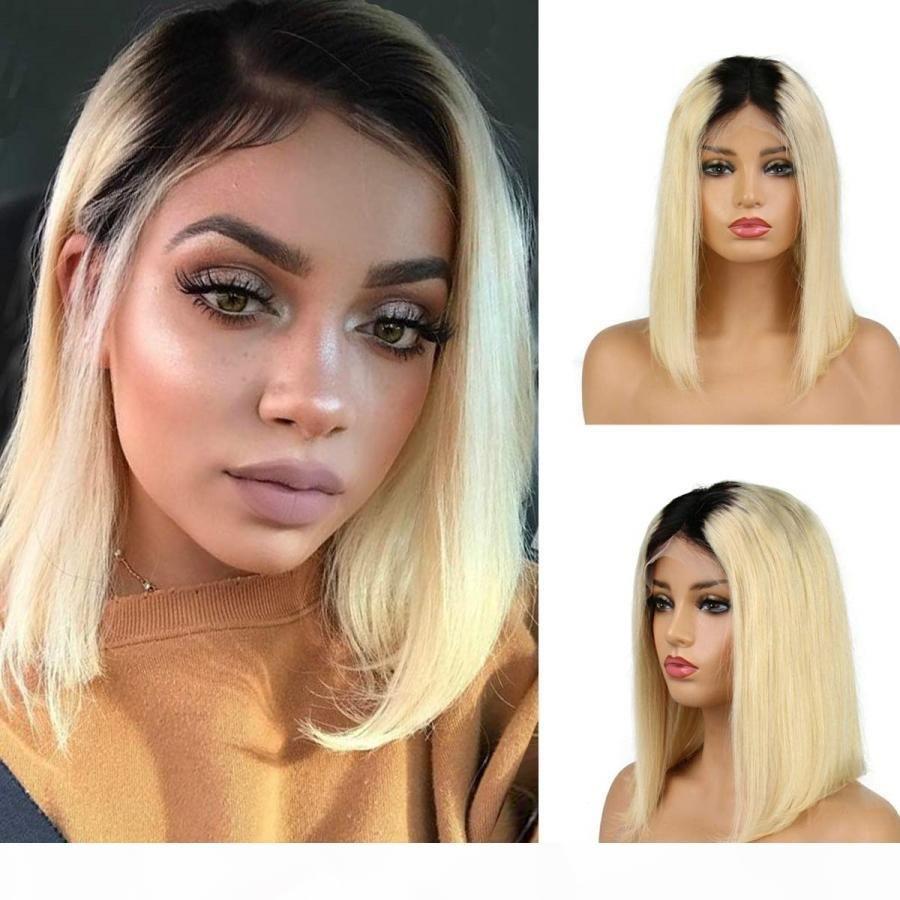 Ash Blonde Ombre Bob Parrucca Parrucche Umano Parrucche Capelli di capelli corto Straight Pizzo Parrucca anteriore Virgin Burmese Capelli Full Lace Parrucca Two Tone # 1b # 613