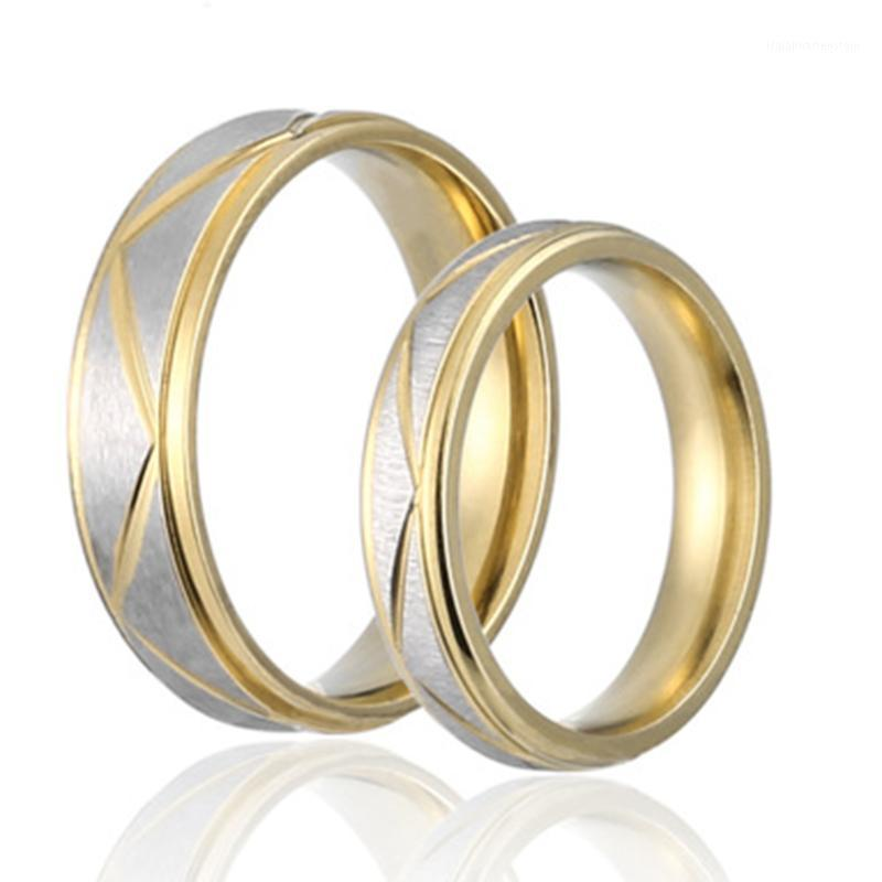 Cluster Bagues entier Sale1pc Mode Bague de mariage Couples Jouant Amoureux d'or-Couleur Amour Matte Finition Blanc Bandes Blancs Rings1