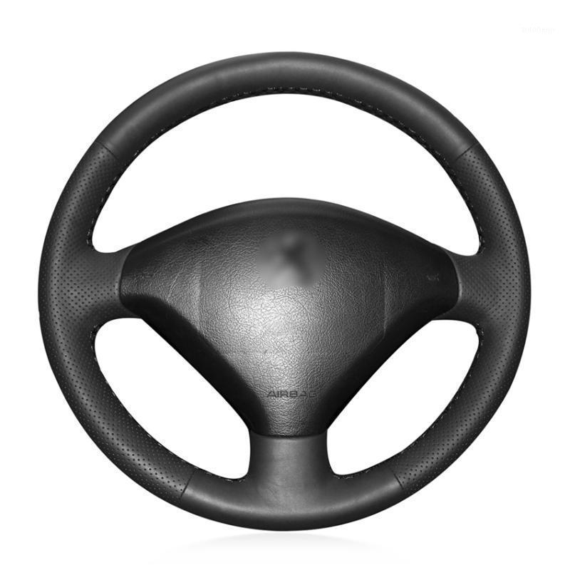 Black Genuine Leather Car Steering Wheel Cover for 307 2001-2008 307 SW 2005-20081