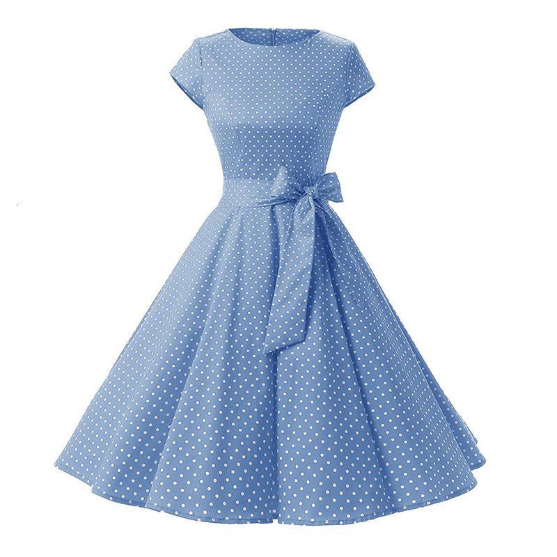 Kadının Elastik Dantel Pamuk Yuvarlak Boyun Kısa Kollu Küçük Nokta Hepburn Elbise