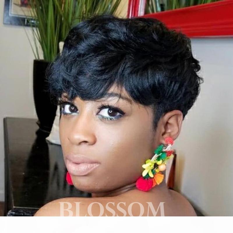 % 100 işlenmemiş insan saçı yok dantel bob insan kısa peri saç peruk makinesi siyah kadınlar için Rihanna Şık Kesim Peruk yapılan