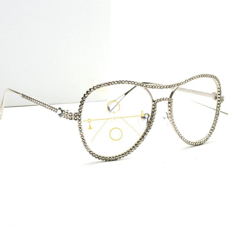 MINCL / femmes multifocales verres photochromiques Lunettes de lecture Hommes Mode diamant Cadre Métal Pilote progressif Lunettes de soleil NX