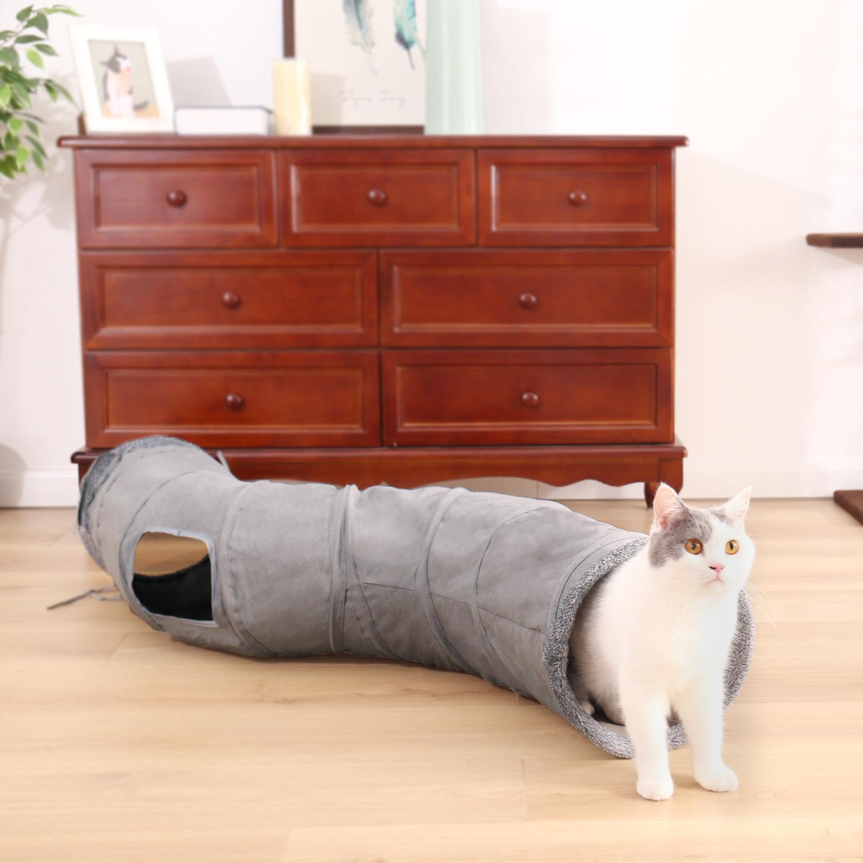 Túnel del gato NUEVA plegable del gato Juguetes túnel del juego duradero Forma de ante Hideaway S Túnel de la arruga para mascotas con la bola para mascotas Kittern juguete 201109