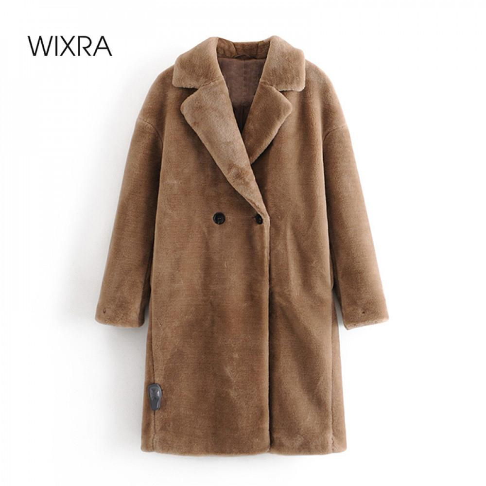WiXRA Femme Manteau Mesdames Faux Mink Fourrure Outwear Longue Jacket Loose Street Style Chaud Ottel automne hiver 201031