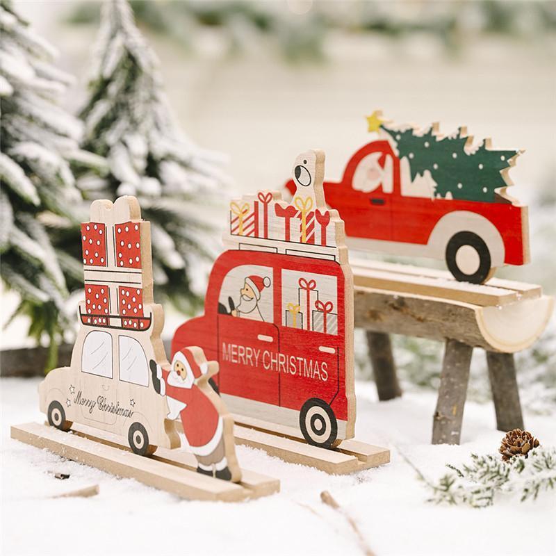 Madera Natural Decoración de Navidad de Santa Claus Tabla coche del partido de Navidad Año Nuevo Craft ornamento de la boda Decoración Suministros 63053