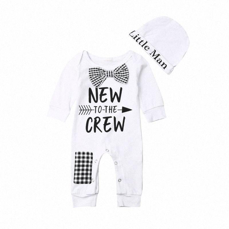0-24M Newborn Baby Boys Cotton Bowtie Romper Jumpsuit Gentleman Clothes Autumn Long Sleeve Letter Printed Outfits Headband 2Pcs Ei6Z#