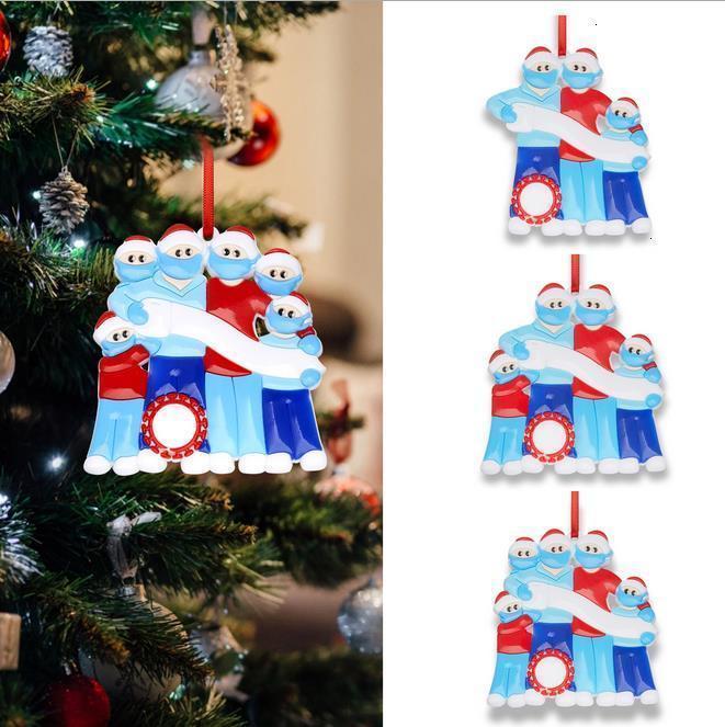 2020 Noël Noël Hanging Ornaments famille bricolage Nom quarantaine Arbre décor personnalisé famille de 3 4 5 6 Avec Masque Visage Désinfectant pour les mains