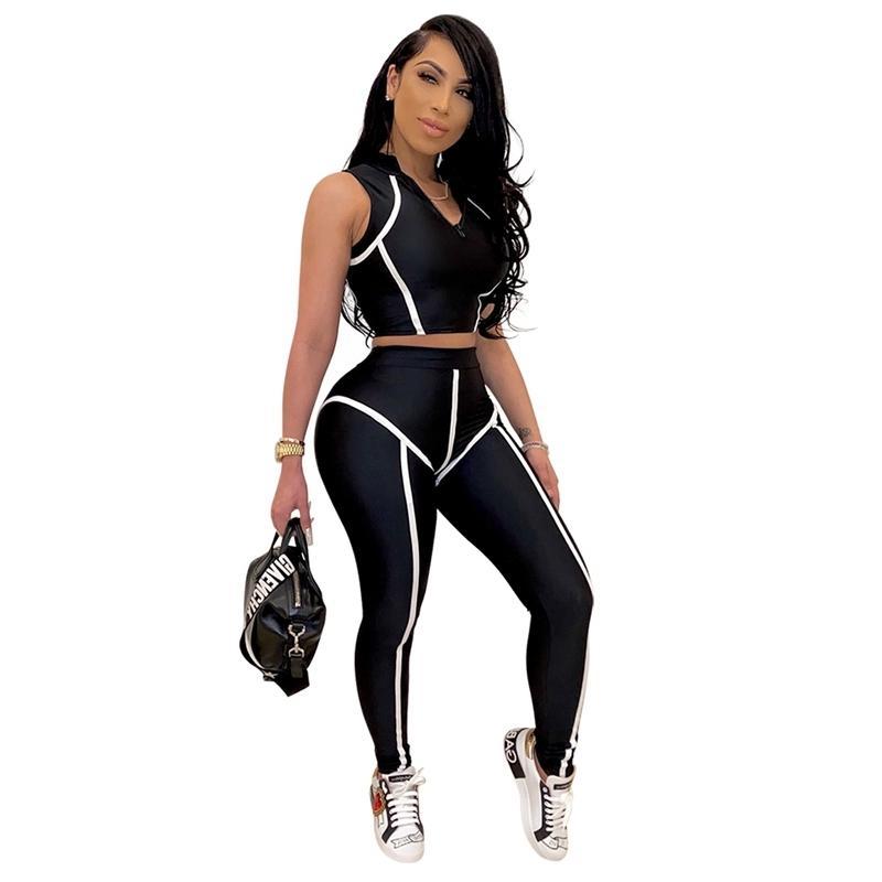 Kadınlar 2 Parça Set Spor Eşofman Kırpma Üst Ve Tayt Set İki Parçalı Rahat Spor Seti Kadınlar Için Yaz Giysileri Kıyafetler 2020 C0123