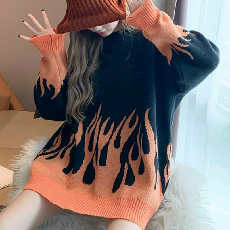 Autumn Winter Harajuku Sweater Women Korean O-neck Pullover Hip Hop Knitting Sweaters Loose Hipster Knitwear Clothing Female Q1115