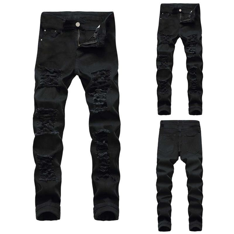 2020 Sweatpants Sexy Buraco Calças Jeans Men Casual Primavera Outono masculinos rasgado Calças justas magros Outwears Pants Tamanho 28-42