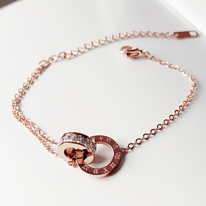 Simple Titan Steel Roman Digital Armband Persönlichkeit Gold Rose Gold Schmuck Freundinnen Charm Armbänder mit Frauen Mädchen Armreif Link