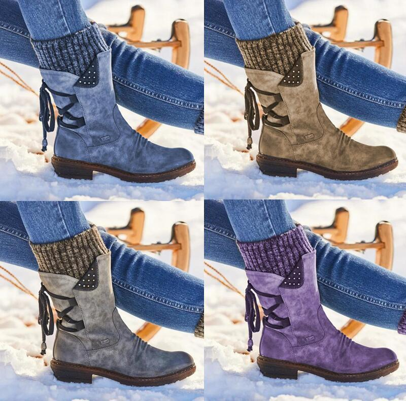 Lowest Price and Free Gift - Women Ankle Boots winter autumn girls Flat Heel Boot Fashion Knitting Patchwork shoes snow boot
