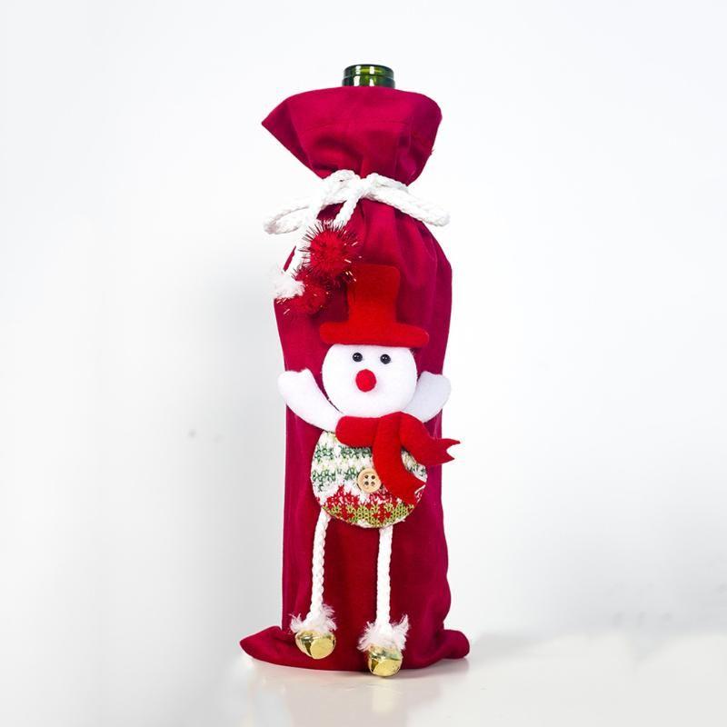 Cartoon Doll Santa Pants Christmas Candy Bags Wine Stocking Bottle Gift Bag Xmas Decoration Christmas Wine Bottle Cover Bag