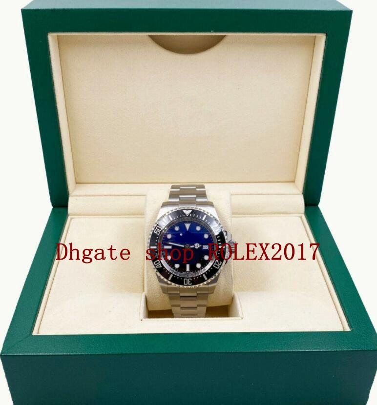 Caja original Mens Sea 126660 Negro Dial Azul Negro Cerámica Bisel Movimiento Inoxidable Automático Relojes Relojes Menos