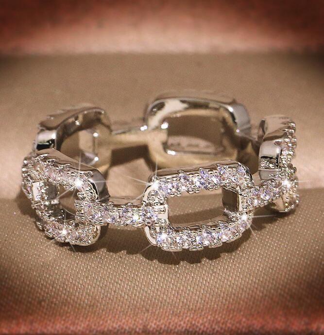 موضة جديدة العلامة التجارية خواتم مصمم للمجوهرات النساء يلمع خاتم كريستال مع تشيكوسلوفاكيا حجر الماس