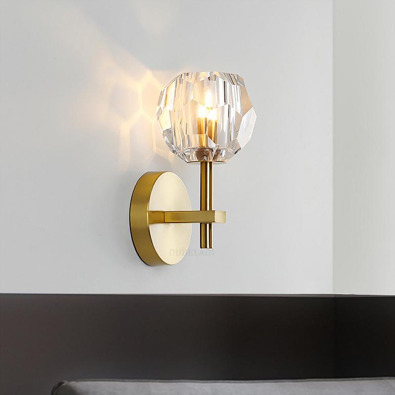 مصابيح الحديثة غرفة الحد الأدنى الكريستال الحديد المطاوع مصابيح الحائط الذهب الديكور الداخلي السرير يعيشون G9 110-240V