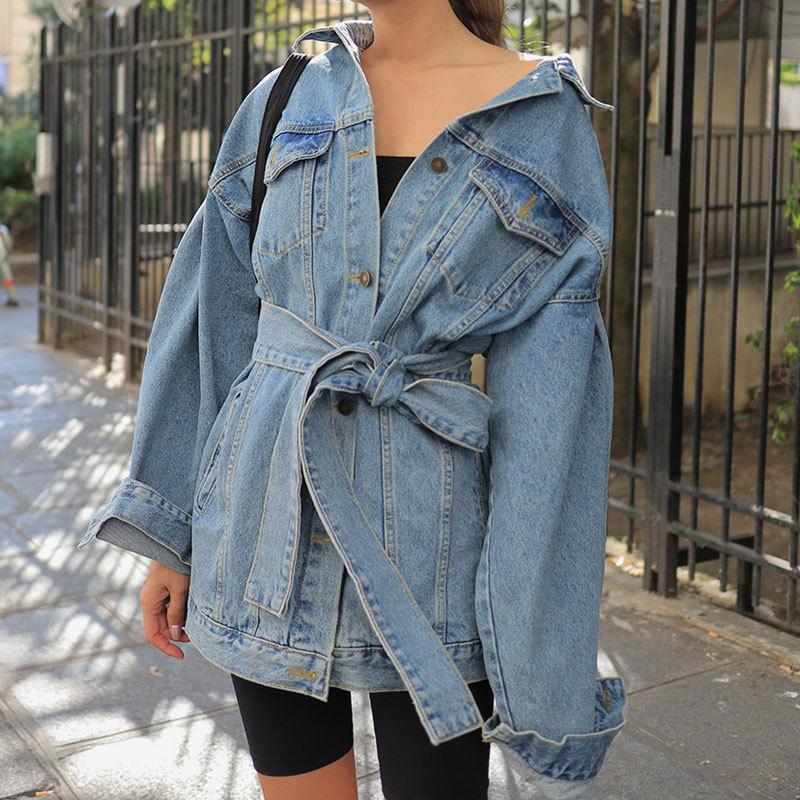 High Street dril de algodón chaquetas de los marcos de encaje hasta prendas de vestir exteriores del resorte del otoño 2020 nueva moda de las mujeres de los pantalones vaqueros azules largas