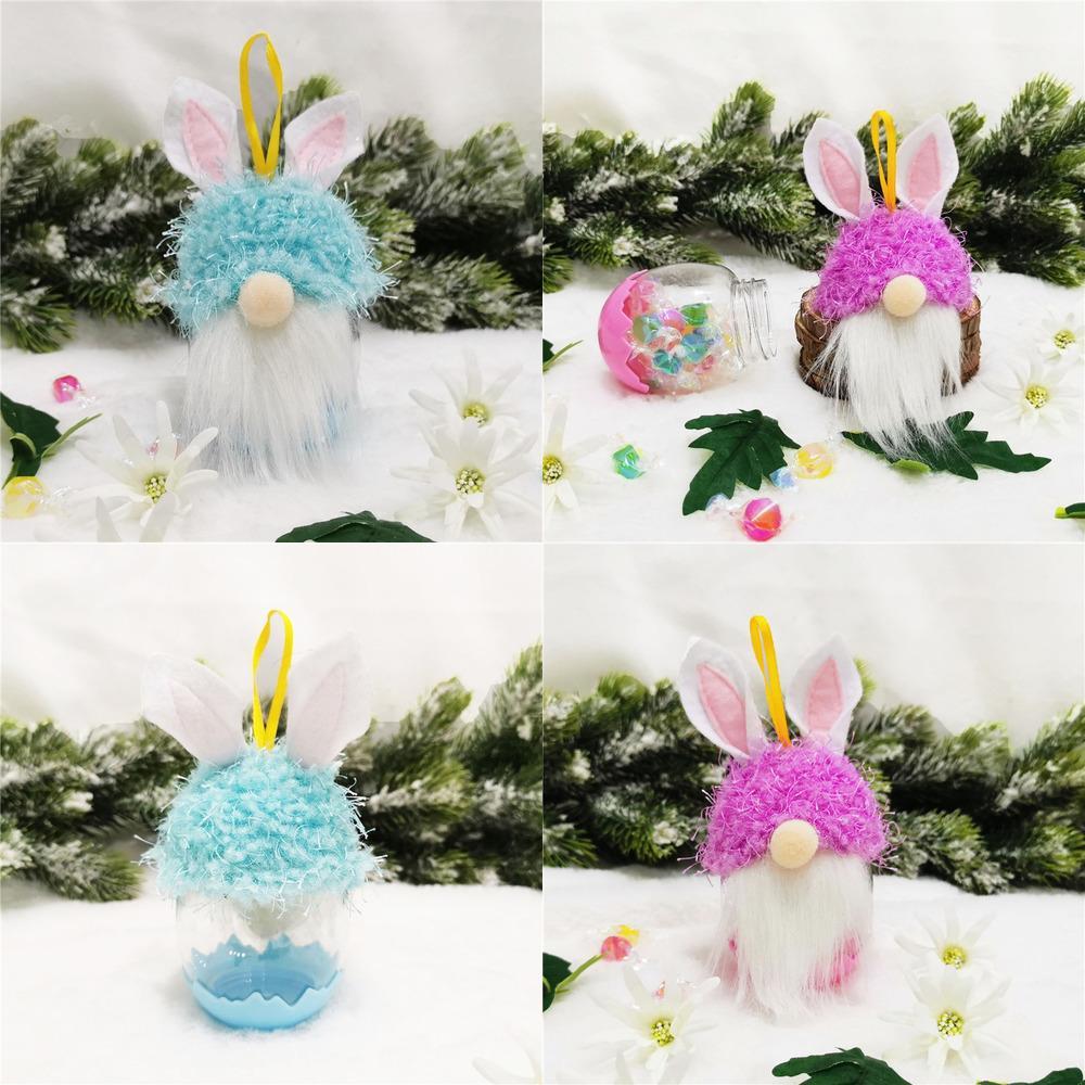 2021 Paskalya Yeni Varış Çocuklar Hiçbir Yüz Bebek Tavşan Kolye Hediyeler Plastik Çocuk Sevimli Şeker Kutusu Noel Dekorasyon Sweetbox Malzemeleri G12204