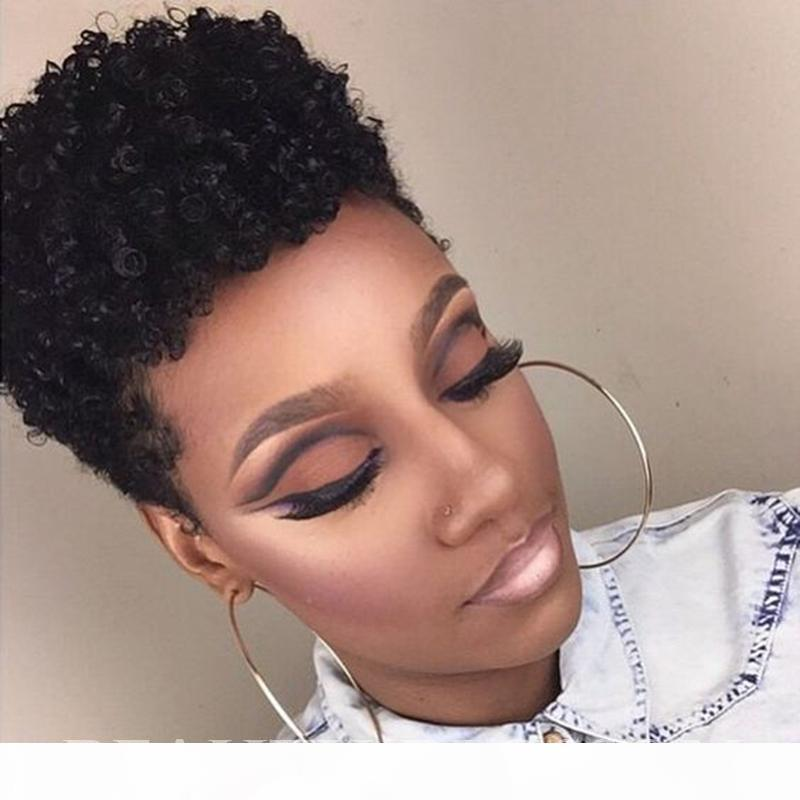 Glueless Lace Front Virgin Human Hair Wigs Full Capless Lace Wigs Afro Kinky Curly Style Fashion African American Wigs