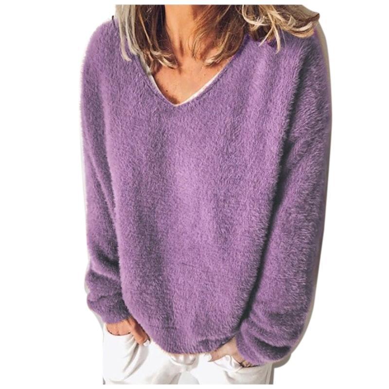 Elegante maglia maglione mollover Moda donna manica lunga a maniche lunghe colore V scollo a cam magliette casual top inverno vestiti caldi tunica tee