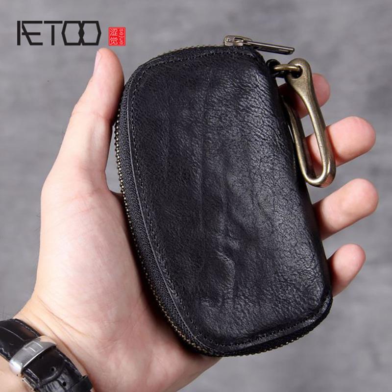 HBP AETOO خمر الخصر-شنقا رأس الجلود حقيبة مفتاح، حقيبة النحاس النقي مشبك حقيبة بيك اب يدوية حقيقي، محفظة صفر
