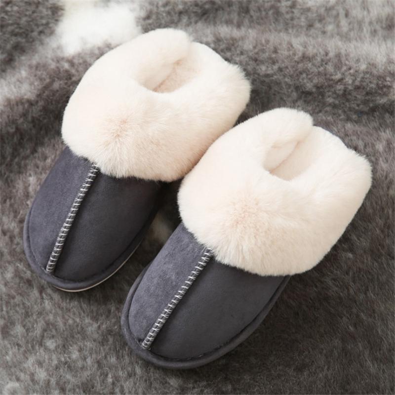 Цзяньбудан плюшевые теплые дома плоские тапочки стая мягкие удобные зимние тапочки мужские женские хлопчатобумажные туфли в помещении плюшевые тапочки 201125