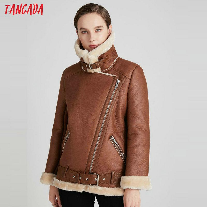Tangada Women brown fur faux leather jacket coat with belt turn down collar Ladies Winter Thick Warm Oversized Coat 5B01-1 201016
