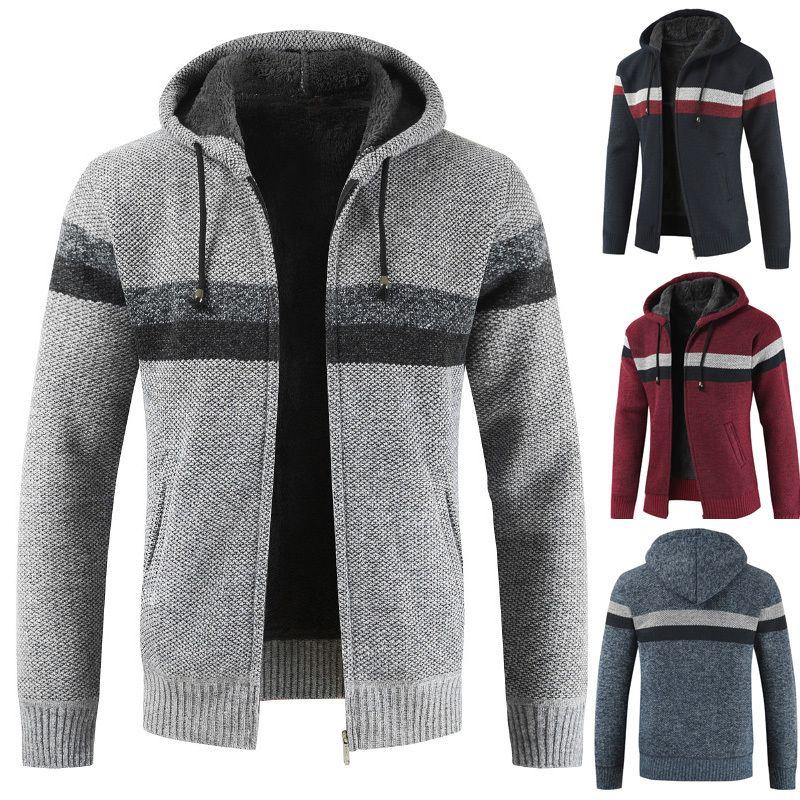 Men Winter warm cardigan sweater color Patchwork velvet padded hooded coat1